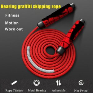 Heavy Adjustable Weighted Skipping Rope -Bearing Weavon Cable Foam Handle for Home Gym Workouts Boxing