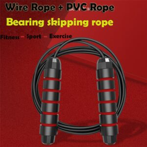 2020 Non-slip bearing rubber skipping rope Aerobic Exercise Boxing Skipping Jump Rope Adjustable Bearing Speed Fitness Black