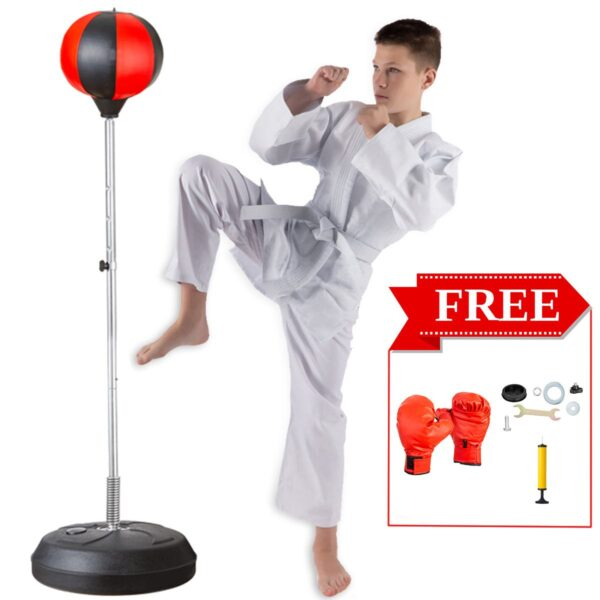Adjustable Fitness Boxing Punch Pear Speed Ball Relaxed Boxing Punching Bag Speed Bag For Kids Children(Glove+Pump+Base+ Poles)