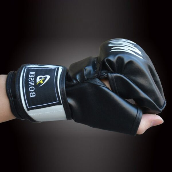 1 Pair Comfortable MMA Boxing Gloves Soft PU Half Finger Design Grappling Punching Bag Training Gloves for Adult